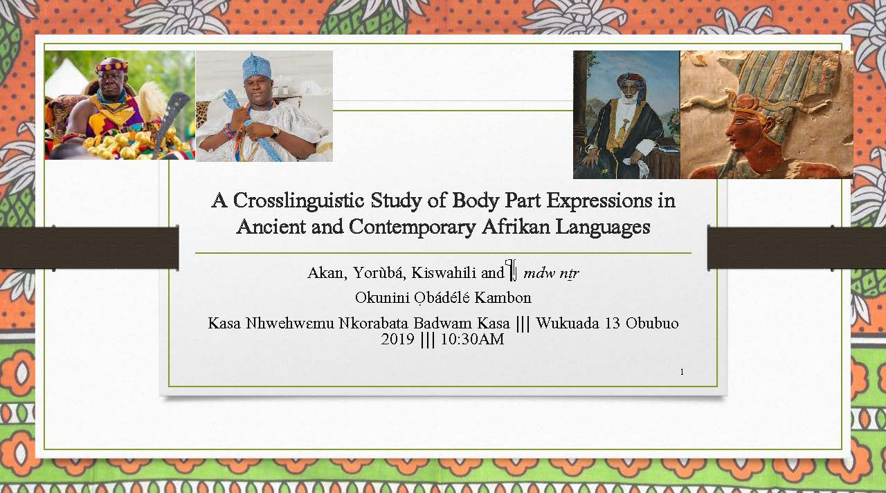 A Crosslinguistic Study of Body Part Expressions in Ancient and Contemporary African Languages(Video and Slides)!