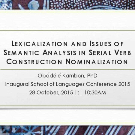 Lexicalization and Issues of Semantic Analysis In Serial Verb Construction Nominalization